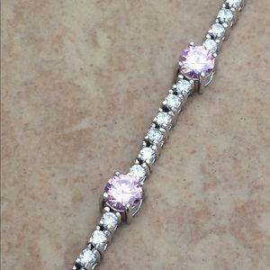 Rhodium Plated Pink & Clear CZ Tennis Bracelet